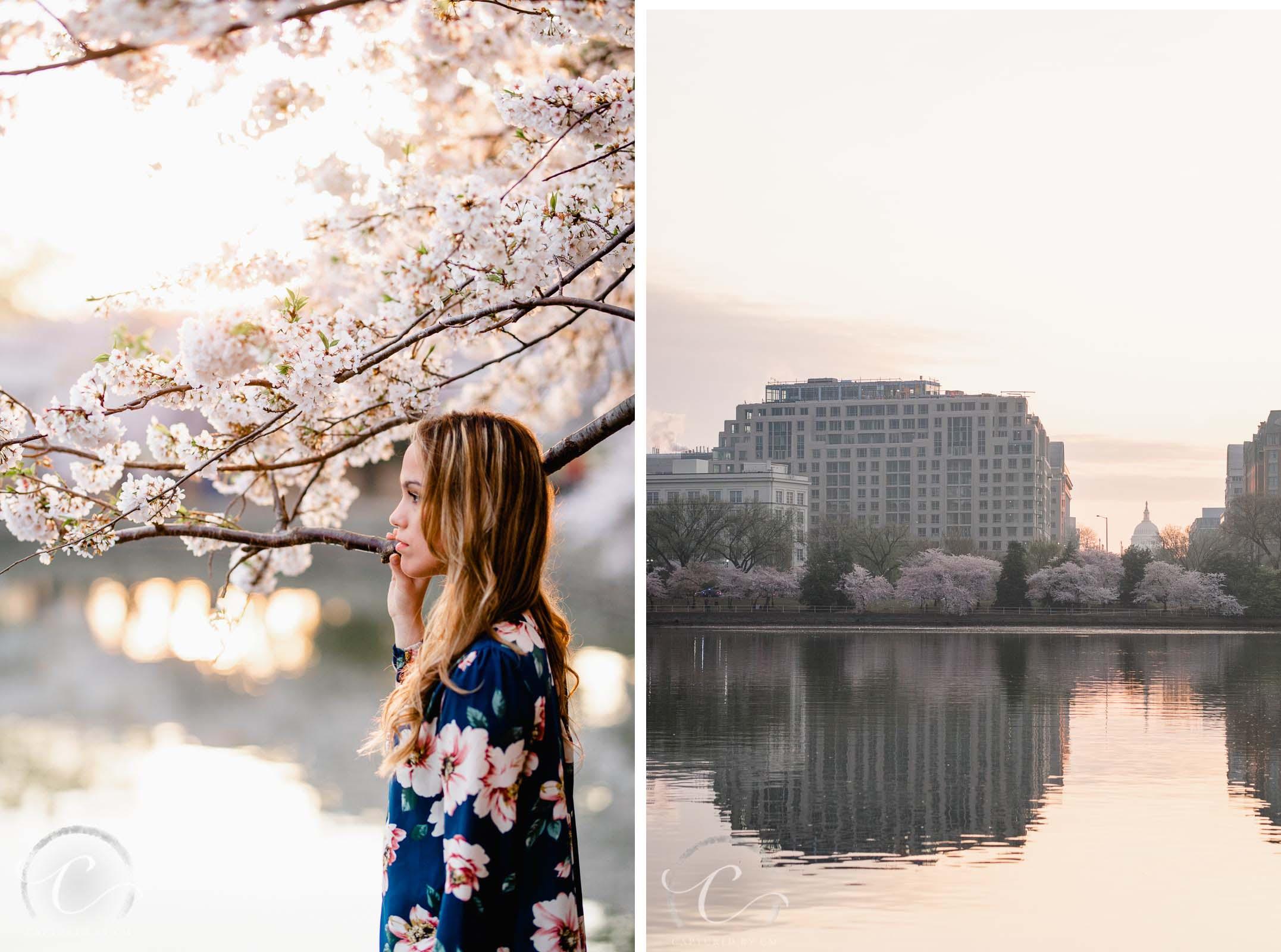 Sunrise Cherry Blossom Senior Session Captured by CM